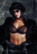 Glamorous woman in see through bra